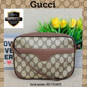 Gucci Crossbody bag pvc brown leather GG SHOULDER